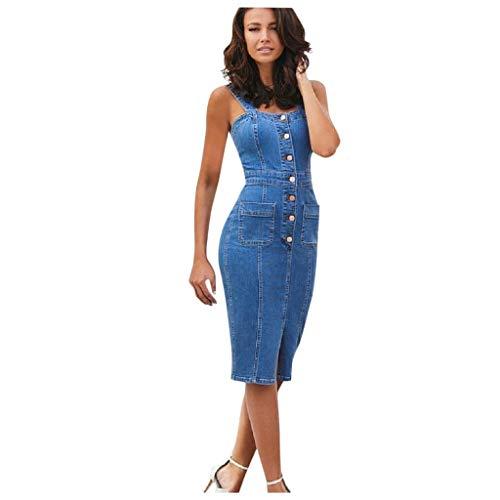 FunAloe Damen Jeanskleid,Knöpfe Gespalten Maxikleid Sexy Jeans Damen Denim Kleid mit Gürtel Kleider Damen Elegent Strandkleider Damen Kleid Stretch-Material Damen Midikleid Langam Tops