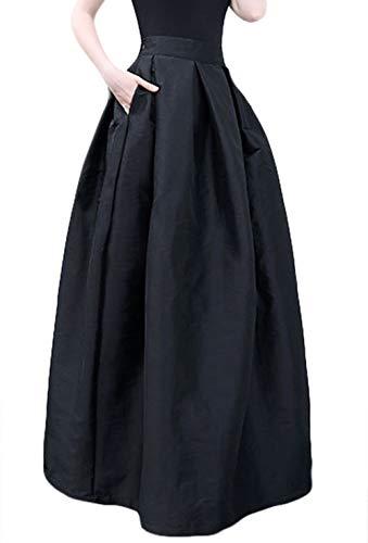 ONCEFIRST Falda Larga Plisada de Cintura Alta para Mujer, Falda Grande de péndulo con Bolsillos, Negro,…