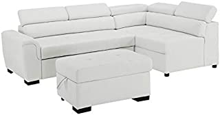 BOWERY HILL Finley White Leatherette Sleeper Sectional