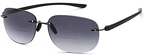 VVDQELLA Bifocal Sunglasses 2.0 Damen Randlose Lesebrille UV-Blocker mit getönten, progressiven grauen Gläsern