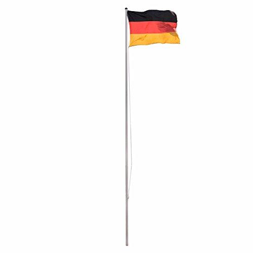 Park Alley Fahnenmast Flaggenmast aus Aluminium und Bodenhülse 6,50 m, inkl. Deutschland Flagge 120 x 80 cm
