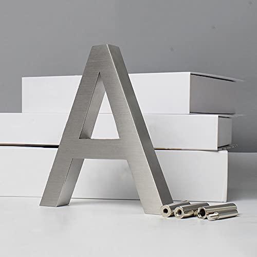 Señal de número de casa flotante 3D 50cm, placa de señalización moderna de números de puerta, números de dirección de casa de calle, plata cepillada