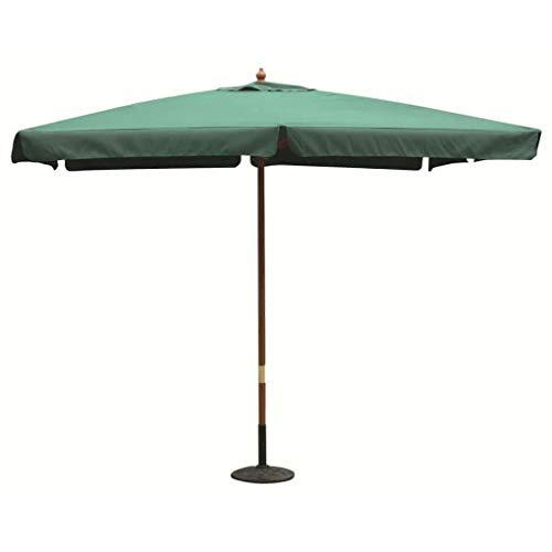 ombrellone da giardino verde Milani Home s.r.l.s. Ombrellone da Giardino 3 X 3 Palo Centrale in Legno per Esterno Telo Verde Scuro Ristorante Gelateria Bar Hotel Albergo
