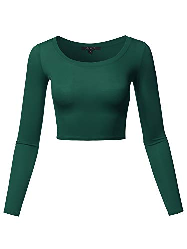 Basic Solid Stretchable Scoop Neck Long Sleeve Crop Top Huntergreen L