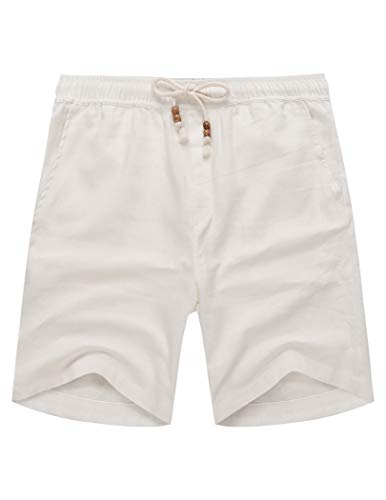 COOFANDY Men's Linen Shorts Casual Elastic Waist Drawstring Summer Beach Shorts White