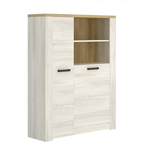 HABITMOBEL Mueble Aparador Vertical Puertas, Buffet para Cocina y Comedor, Acabado en Milano y Fines, Medidas: 104cm (Largo) x 33 cm (Fondo) x 139 cm (Alto)