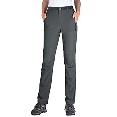 FREE SOLDIER Women's Hiking Pants Outdoor Quick Dry Lightweight Stretch Pants UPF 50+ Water Resistant Cargo Pants (Dark Gray 10)