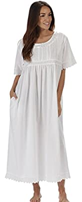 The 1 for U Nightgown 100% Cotton Sizes XS-3XL Helena (XL, White - Short Sleeves) from