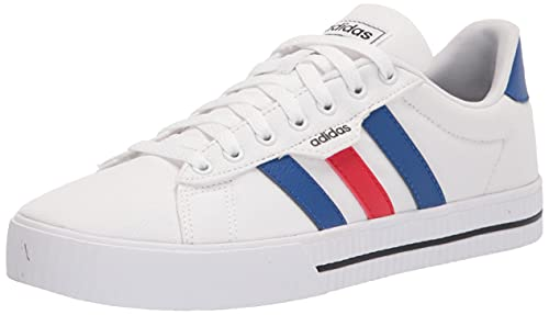 adidas Men's Daily 3.0 Skate Shoe, White/Team Royal Blue/Vivid Red, 7