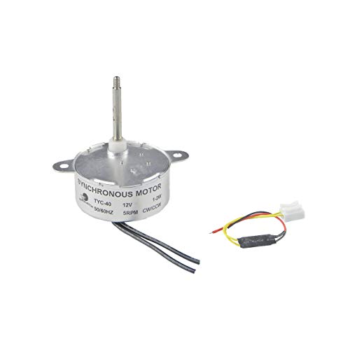 CHANCS Motorreductor Motor sincrónico pequeño TYC-40 DC 12V 5 RPM Longitud del Eje 35 mm para árbol de Navidad de Fibra óptica Motor eléctrico
