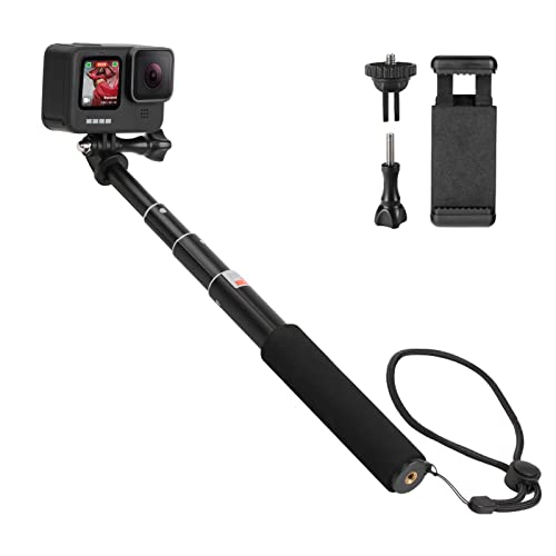 HSU Extendable Selfie Stick, Wasserdichter Handgriff für GoPro Hero 10/9/8/7/6/5/4, Handheld-Einbeinstativ Kompatibel mit Handys und Anderen Action-Kameras