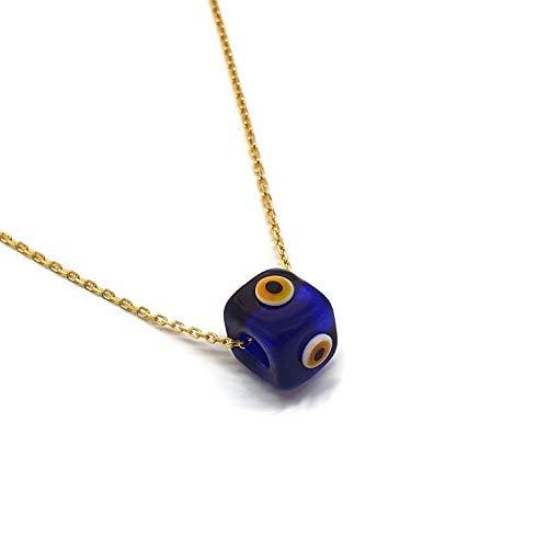 MYSTIC JEWELS by Dalia - Collier en forme de cube en verre bleu pour la bonne chance - Chaîne en argent sterling 925 avec plaqué or