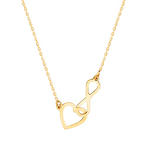 Sinez Collar de oro para mujer con colgante de infinito, corazón de 8 quilates (333)