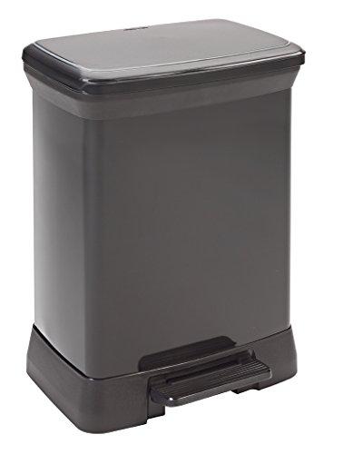 CURVER | Poubelle à pédale rectangulaire 30L, Argent Noir, 39 x 29 x 50,5 cm, Plastique