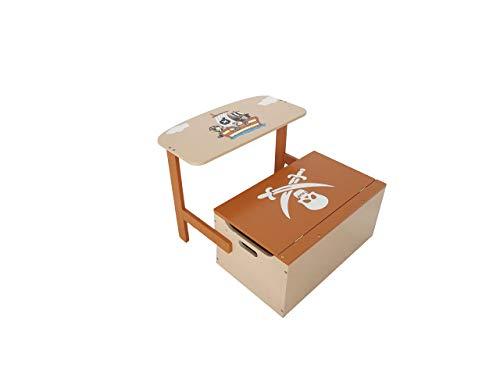 Bebe Style PRF1CTB Verwandelbare Spielzeugkiste + Tischbank + Stuhl - Holzkiste Aufbewahrung, braun - 6