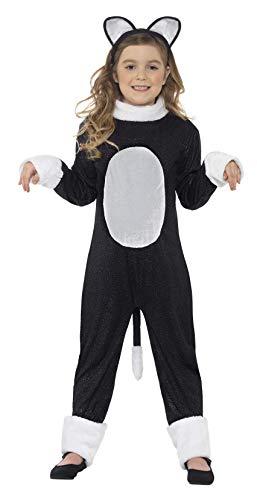 Smiffys Cool Cat meisjeskostuum, jumpsuit met staart en haarband, maat: L, 33156 Small zwart