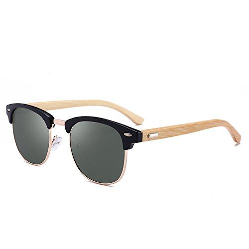 ZJMIYJ Gafas De Sol Madera Metal Hombres Gafas De Sol Polarizadas Uv400 Espejo Gafas De Sol Mujer Retro Designer