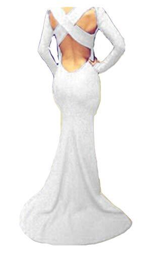 Ovender - Vestido de mujer elegante, vestido de ceremonia largo, vestido de mujer, niña, estilo imperio, formal, elegante, largo, baile, fiesta, boda, dama de honor