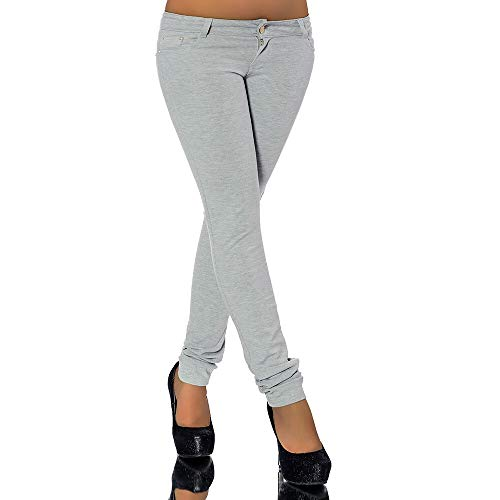 Diva-Jeans G701 Damen Jeans Look Hose Röhre Leggings Leggins Treggings Skinny Jeggings, Grau, 40