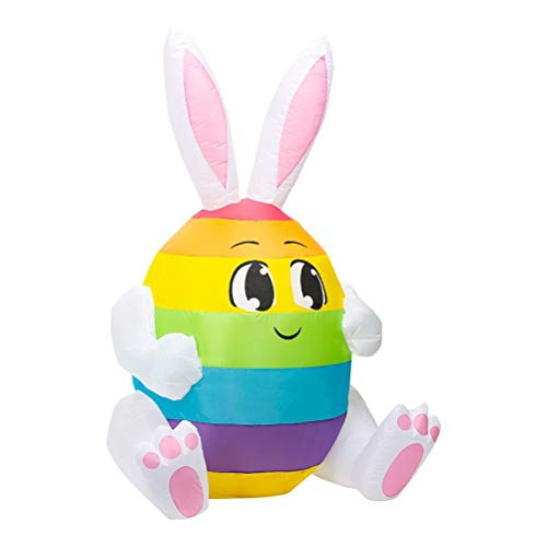 Lipeed Conejo de Pascua inflable de 1,5 m, grande, iluminado, conejo de Pascua Happy Easter, exterior, inflable, decoracin con LED incorporados, para vacaciones al aire libre, decoracin de Pascua