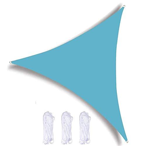 KAISUN Toldo Vela de Sombra Triangular,protección Rayos UV y HDPE Transpirable para Patio con Cuerda Libre para Terraza Camping Jardín al Aire Libre (3x3x3m,Cielo Azul)