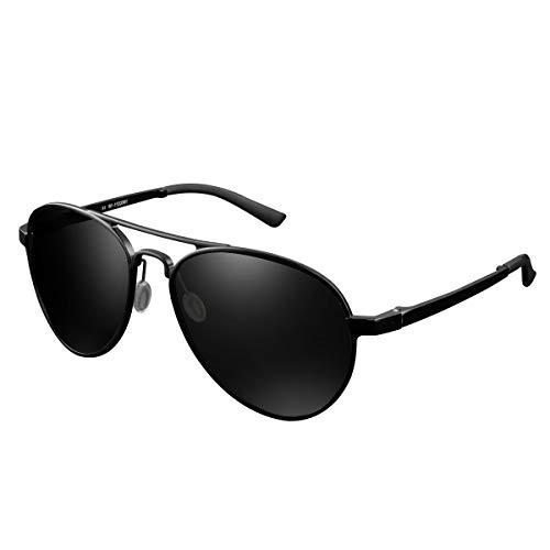 CHEREEKI Gafas de sol Hombre polarizadas, Gafas de Sol Aviador Hombres Mujeres Protección UV400 para Conducción Verano Deportes Moda Gafas de sol (Oscuro-Gris)