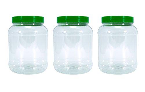 Britten & James® Vaso vuoto trasparente in plastica da 2,5 litri con coperchio a vite piatta verde, confezione da 3