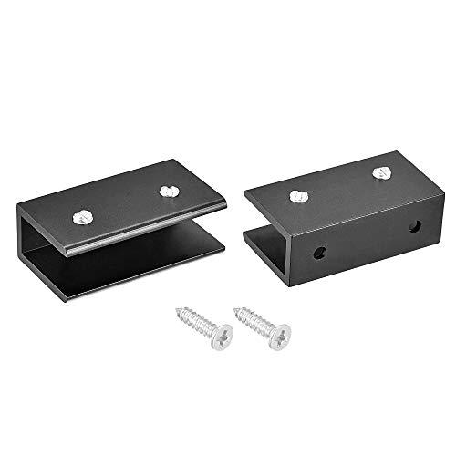 YeVhear - Soporte para tablet de cristal ajustable de aleación de aluminio rectangular con pinza para 10 – 12 mm de grosor 55 x 30 x 19 mm con tornillo 2 piezas