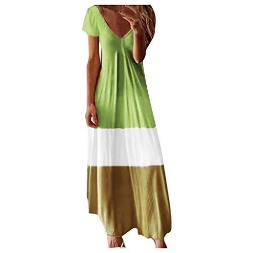 MRULIC Damen Kleider Kurzarm V-Ausschnitt Tie Dye Drucken Farbverlauf Maxikleid Sommerkleider Strandkleider Cocktailkleider AbendkleidParty Kleider(Grün,M)