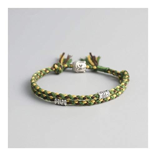 DERFX Tibetan Buddhist Lucky Woven Amulet Tibet Cord Bracelets Bangles For Women Men Handmade Rope Buddha Anklet Bracelet Accessories (Metal Color : 3)