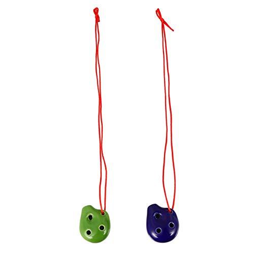 EXCEART 2pcs 6 Holes Ocarina Alto C Key Ceramic Mini Ocarina Flute Toy Necklace Hanging Ocarina Gift Portable Ocarina Pendant for Beginners Kids Gift Random Color