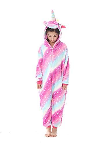 Unisex Licorne Pyjama Combinaison Vêtement de Nuit Cosplay Costume Déguisement Unicorn pour Enfant (125#(Suit for Height:138-148cm), Étoile de Rose)