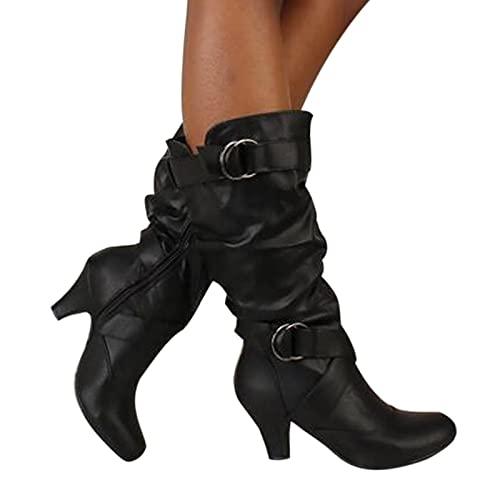 Dasongff Bottes Gros Mollets Femme Boots Equitation Femme Boots Équitation Femmes Décontractée Botte Orthopedique Bottine Mi Talon Femmes Automne 2021 Respirant Antiderapantes avec Boucle