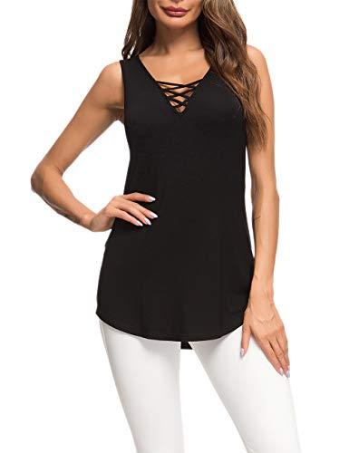 AUSELILY T-Shirt Casual da Donna a Manica Lunga con Scollo a V Incrociato T-Shirt Basic (Nero, 44-46)
