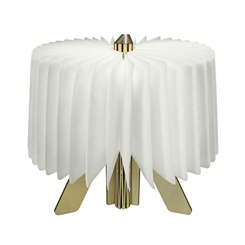 Vangoal Holz Folding Buch Lampe,LED-Stimmungsbeleuchtung Wiederaufladbar Buchlampe Nachtlicht LED Leseleuchte 360° Flexibel Schreibtischlampe für Haus, Dekoration Geschenk