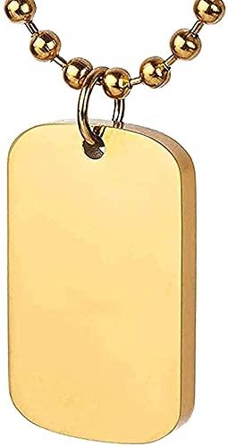 WYDSFWL Collar Mujer Hombre Moda Acero Titanio Personalizado Etiqueta de Perro Colgante Collar grabable para Hombres Mujeres 28 Pulgadas Oro Mujeres Hombres