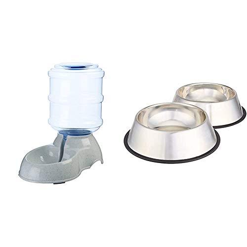 Amazon Basics Dispensador de Agua, Pequeño + - Comedero para Perro (Acero Inoxidable, 2 Unidades)