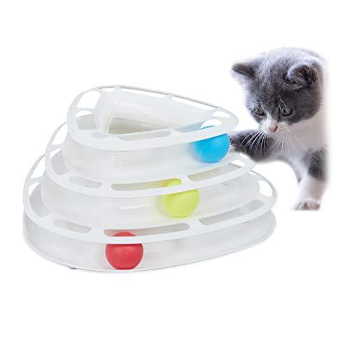 Relaxdays, weiß Katzen Rollenspielzeug, interaktives Katzenspielzeug, 3 Etagen mit Bällen, Intelligenz & Beschäftigung