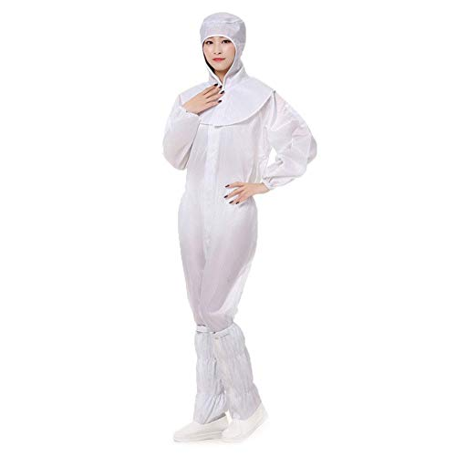 Wegwerp badjas met capuchon, overol beschermingsvlies, voor volwassenen, lange mouwen, elastische manchetten, één stuk voor heren, dames, antistatisch, spatwaterdicht.
