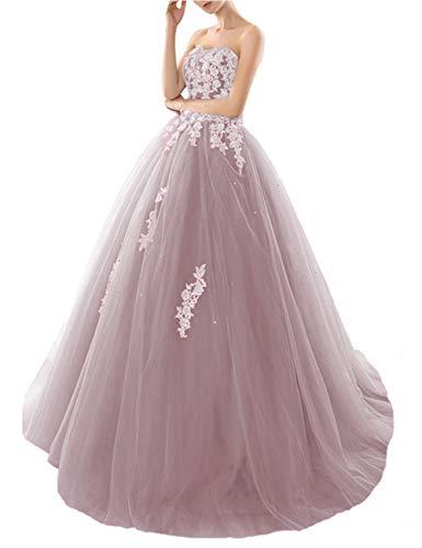 HUINI Abendkleid Lang Elegant Ballkleid Promkleid Vintage A-Linie Brautkleid Glitzer Rückenfrei Quinceanera Kleid Altrosa 50