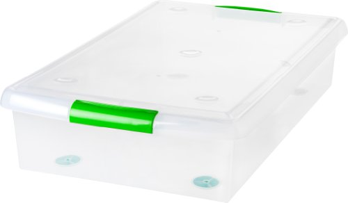 IRIS 40 Quart Underbed Store and Slide Storage Box- Green Handle, Clear
