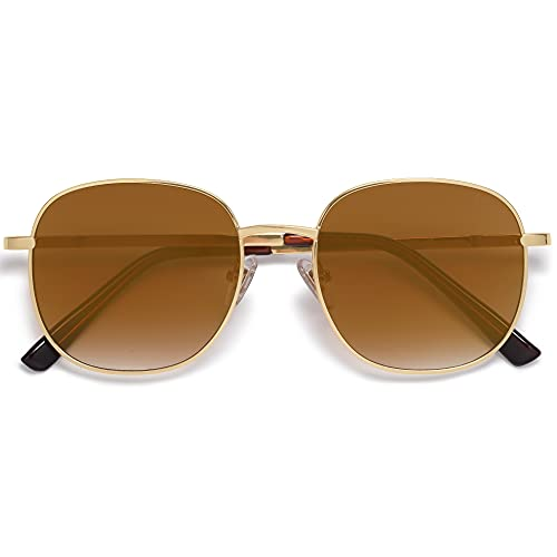 SOJOS Classic Square Sunglasses for Women Men with Spring Hinge AURORA SJ1137 with Gold/Brown