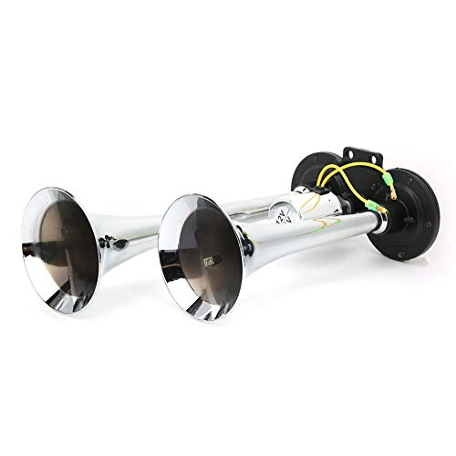 Bocina de aire 130dB 12V / 24V Kit de bocina de tren de aire de trompeta doble neumática para camión y automóvil