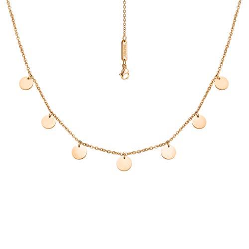 BAFFOS® Plättchen Halskette aus widerstandsfähigem Edelstahl in Farbe Rose-Gold für Damen - wundervoller runder Choker Schmuck + Gratis Geschenkverpackung
