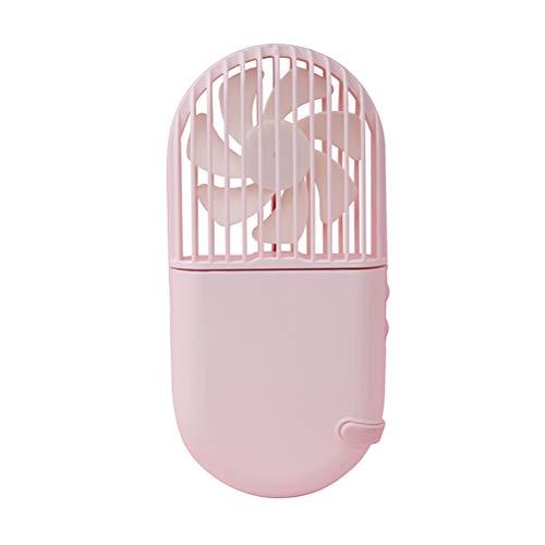 Einsgut Verstelbare bevochtigingsventilator, USB, mini-ventilator, draagbare bevochtigingsventilator voor kantoor, slaapkamer, outdoor, onderweg, in de zomer, wit Poeder.