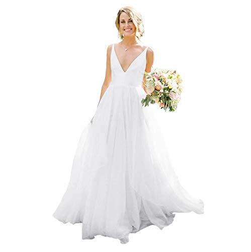 Fankeshi Damen Ärmellos Country A Linie Hochzeitskleid Tüll Brautkleider - Wei� - 46