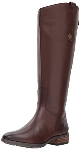Sam Edelman Women's Penny 2 Wide Calf Leather Riding Boot Dark Brown Basto Crust Leather 7 W US W