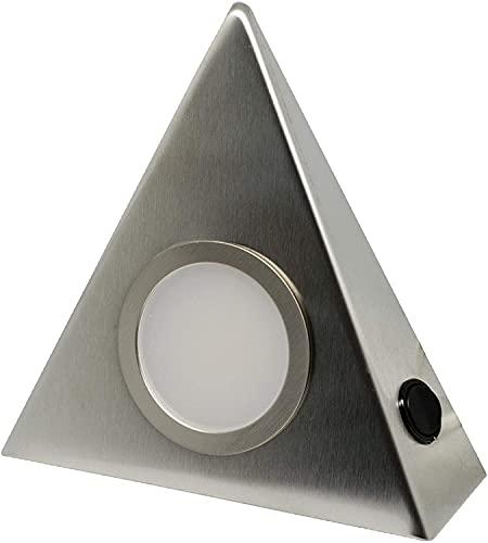 5er Set LED Edelstahl Dreieckleuchten Unterbau 3W HIGH LED WARMWEISS, mit Zentralschalter…