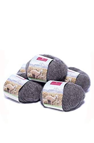 APU KUNTUR 100% Alpaka Wolle | Strick-Häkel-Garn weich, warm und kratzfrei | 5er Vorteilspack | 100m, Nadel 4,5 | wunderschöne Farben zum angenehmen Stricken und häkeln | dunkelgrau