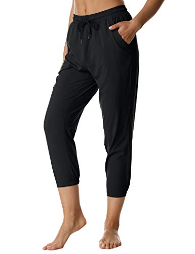 ChinFun Women Lightweight Hiking Capri Pants UPF 50+ Water Resistant Outdoor Sweatpants 4 Way Stretchy Workout Jogger Cropped with Pockets Black Size L